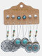 6 Pairs Vintage Trendy Multiple Types Of Shapes Alloy Earrings Set - #07