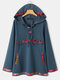 Ethnic Patch Printed Lace Up Button Vintage Hoodie For Women - Navy