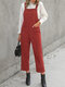 Corduroy Solid Color Pocket Casual Jumpsuit For Women - Red