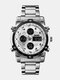 Multifunctional Big Dial Men Business Watch Alarm Luminous Waterproof Quartz Watches - Silver Case Silver Dial