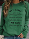 Casual Letters Print O-neck Long Sleeve Plus Size T-shirt for Women - Green