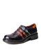 Socofy Retro Ethnic Loafers Chaussures Imprimé Relief Patché Coutures En Cuir Côté Fermeture Éclair Appartements - Violet foncé