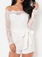 Solid Color Lace Patchwork Knotted Casual Romper for Women - White