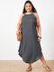 Summer Solid Color Spaghetti Straps Plus Size Maxi Dress - Grey
