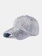 Women Denim Rhinestone Decorated Butterfly Pattern Broken Hole Casual Sunshade Baseball Caps - #01