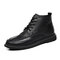 Men British Style Round Toe Lace Up Leather Ankle Boots - Black