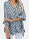 Vintage Striped V-neck Loose Plus Size Blouse