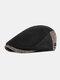 Men Autumn And Winter Beret Hat British Retro Forward Hat Knitted Peak Hat Flat Cap - Black