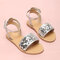 Girls Daily Fashion Coloful Sequined Buckle Strap Beach Sandals - Silver