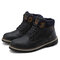 Men Outdoor Slip Resistant Warm Plush Lining Waterproof Snow Ankle Boots - Blue