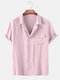 Men Candy Color Solid Printed Beach Holiday Casual Shirt - Pink