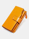 Vintage Genuine Leather Trifold RFID Anti-Theft Stitch Craft Multi-Slots Snap Clasp 6.5 Inch Phone Bag Long Wallet - Yellow