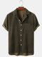 Mens Corduroy Solid Color Loose Casual Lapel Collar Short Sleeve Shirts - Green