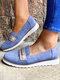 Plus Size Women Casual Elastic Slip-On Breathable Comfy Flat Shoes - Blue