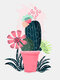 1PC Unframed Cartoon Cactus Plant Pattern DIY Canvas Painting Wall Art Canvas Living Room Home Decor Wall Pictures - C