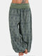 Ethnci Print Patchwork Casual Pants For Women - Green