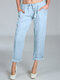 Solid Drawstring Casual Pocket Pant For Women - Blue