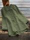 Lässige einfarbige Hemd Revers Kragen Langarm Baumwolle Bluse - Grün