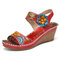 SOCOFY Handmade Leather Cutout Ankle Strap Beaded Floral Stitching Mid Heel Wedge Sandals - Red