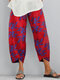 Flowers Print Elastic Waist Plus Size Casual Pants - Red