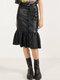 Pleated Patchwork Waist Belt Leather Hip Plus Size Skirt - Black
