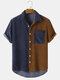 Mens Contrast Corduroy Splice Button Up Casual Short Sleeve Shirts - Brown