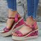 Women Pattern Printing Upper Wearable Buckle Strap Wedges Sandals - Red