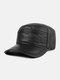 Leather Hat Men's Baseball Cap Goatskin Hat Leather Flat Top Hat - Black lambskin
