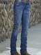 Embroidered Mid Waist Casual Denim Jeans For Women - Blue