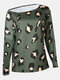 Women Print Off Shoulder Long Sleeve Loose Casual Blouse - Green