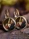 Vintage Glass Gemstone Dangle Earrings Famous Oil Printing Women Pendant Earrings - #04