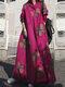 Vintage Blumendruck Big Swing Langarm Pure Cotton Kleid - Rosa
