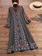 エスニックプリントハーフスリーブAラインエレガントPlusサイズのドレス - グレー