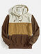 Mens Color Bolck Stitching Patchwork Drawstring Hoodies - Brown