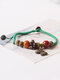 Vintage Ethnic Geometric-shape Beaded Braided Ceramics Alloy Elastic Rope Bracelets - #08