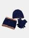 男性2 / 3PCSPlusベルベット暖かく冬の首の保護ヘッドギアスカーフフルフィンガーグローブニット帽ビーニー - #08