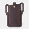 Men EDC Genuine Leather 6.3 Inch Retro Short Cell Phone Case Belt Bag - Brown
