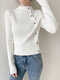 Solid Color Long Sleeve Half-collar Button Sweater For Women - White