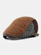 Men Knitted Patchwork Color-match Casual Warmth Beret Flat Cap - Coffee