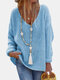 Solid Color V-neck Long Sleeve Casual Sweater For Women - Blue