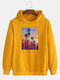 Mens Coconut Tree Painting Graphic Cotton Drop Shoulder Hoodies - Yellow