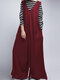 Solid Color Wide-legged V-neck Sleeveless Loose Jumpsuits - Wine Red