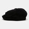 Men Corduroy Fashion Solid Casual Literature Painter Trend Beret Hat Octagonal Hat - Black