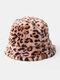 Women & Men Felt Leopard Pattern Casual Soft All-match Outdoor Travel Bucket Hat - Pink