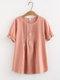 Повседневный плиссированный сплошной цвет с коротким рукавом Рубашка для Женское