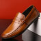 Men Plaid Low Top Soft Sole Slip On Driving Casual Loafers - Brown