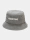 Unisex Washed Made-old Cotton Solid Letter Embroidery Fashion Sunscreen Bucket Hat - Gray