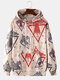 Mens Allover Space Ship Pattern Print Relaxed Fit Hoodies With Kangaroo Pocket - Red