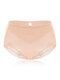 Plus Size High Waist Belly Control Breathable Lace Back Panties - Nude