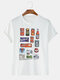 Mens Cotton Breathable Brand Logo Printed Street Wear Short Sleeve Graphic T-Shirt - White